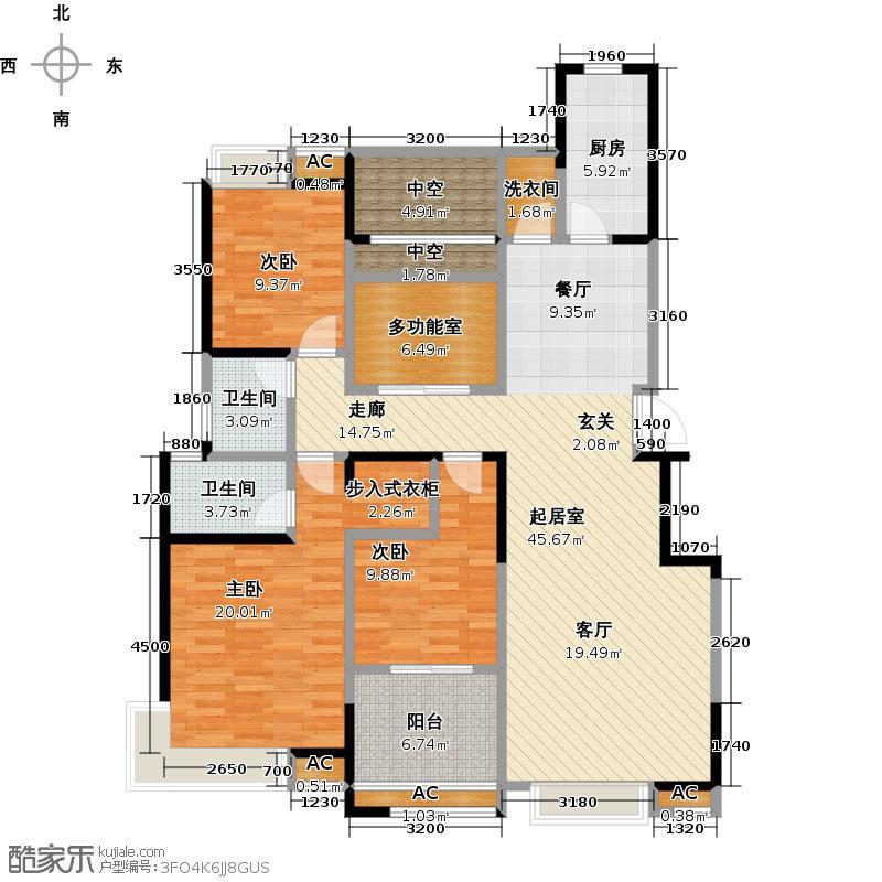 中建开元壹号140.00㎡小高层B户型 三室二厅二卫 一梯两户 南向双卧户型3室2厅2卫