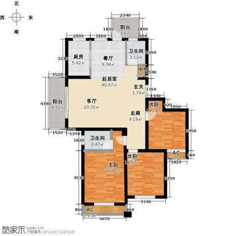 国际时代广场3室0厅2卫1厨150.00㎡户型图