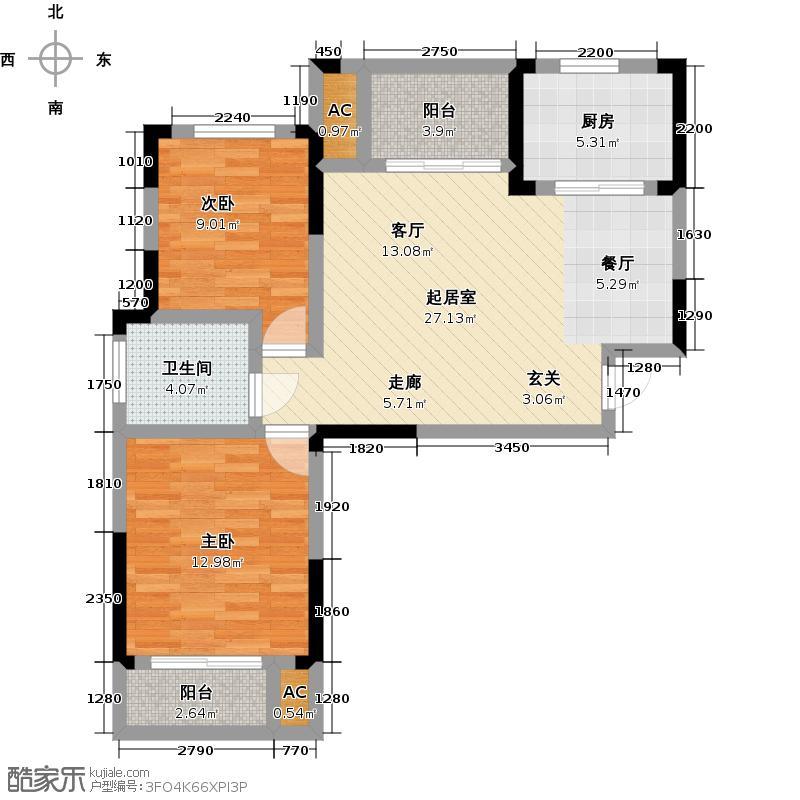 知音学府95.00㎡F1户型 2室2厅1卫户型2室2厅1卫