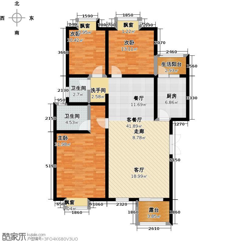 荣华水岸新城124.25㎡D2户型三室两厅两卫户型3室2厅2卫
