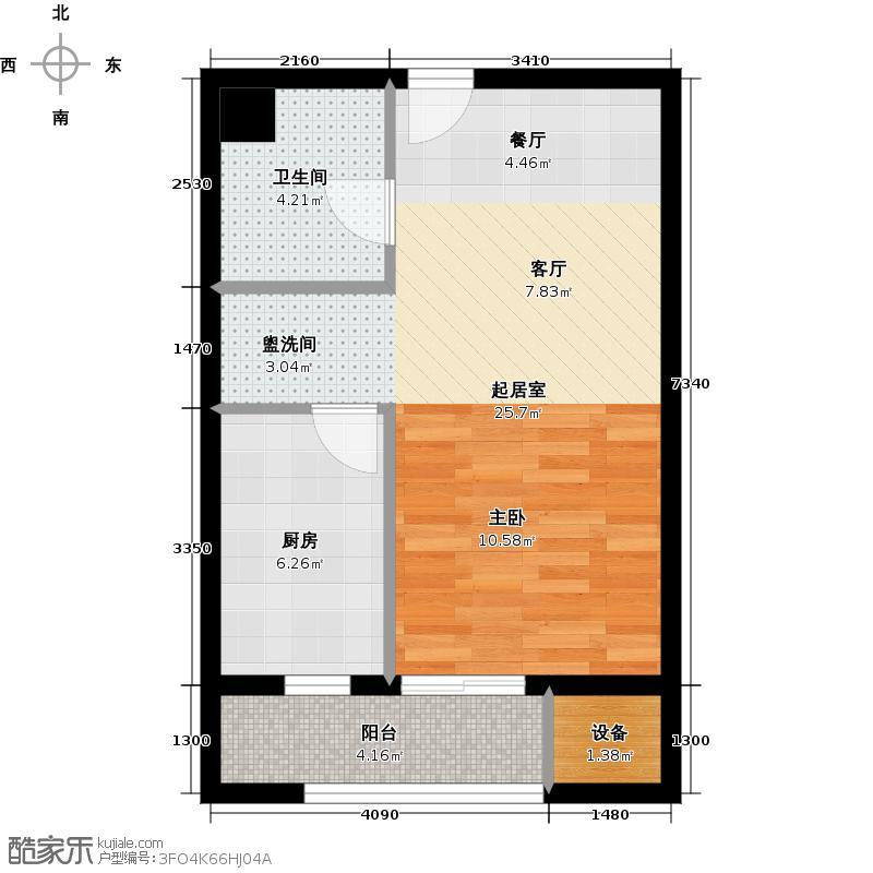 福星惠誉水岸国际49.00㎡SOHO公寓B4户型 一房一厅一卫户型1室1厅1卫