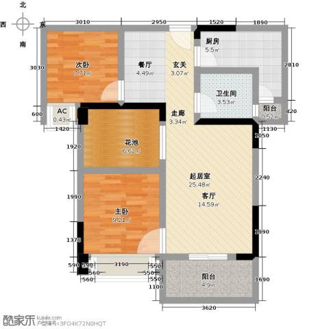 观澜御苑2室0厅1卫1厨87.00㎡户型图