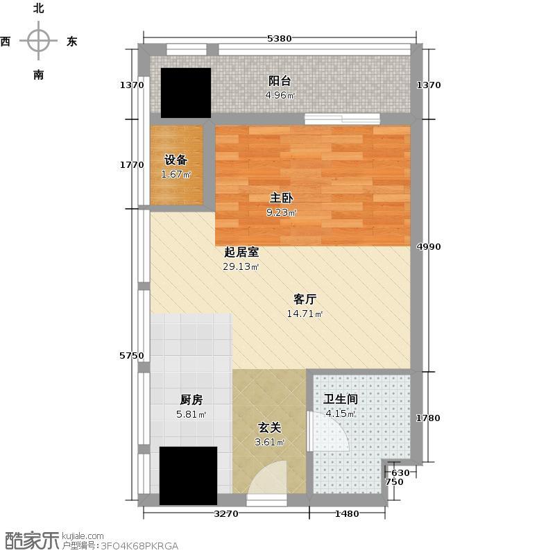 福星惠誉水岸国际47.00㎡SOHO公寓A2户型 一房一厅一卫户型1室1厅1卫