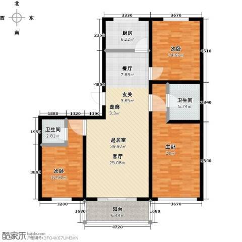 万豪长隆湾3室0厅2卫1厨125.00㎡户型图