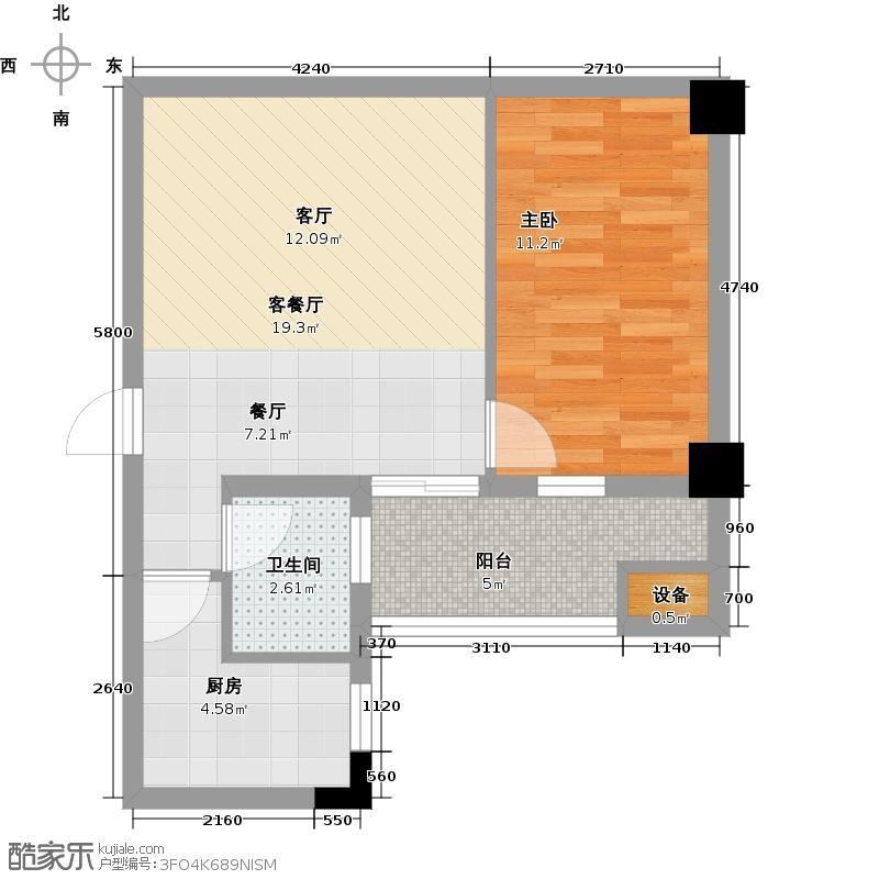 中南国际城二期62.00㎡A1-C户型 1室2厅1卫户型1室2厅1卫