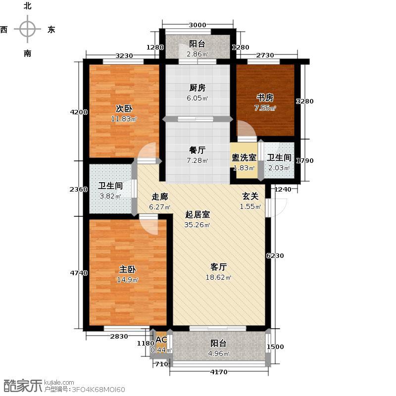 万豪长隆湾117.72㎡二期f户型3室2厅2卫