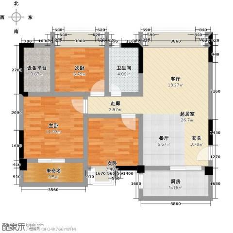 观澜御苑3室0厅1卫1厨93.00㎡户型图