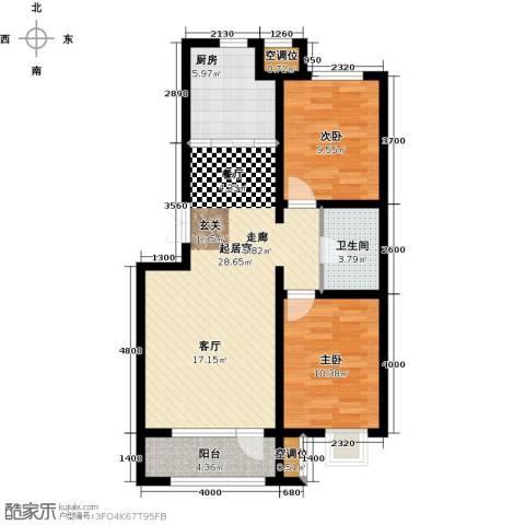 金川新天地2室0厅1卫1厨84.00㎡户型图