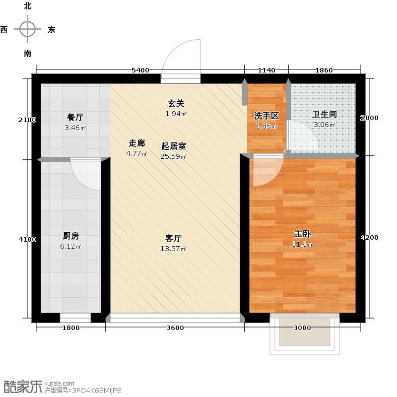 金汉御园66.19㎡5#楼户型1室1厅1卫