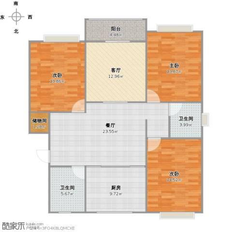 双秀家园3室2厅2卫1厨138.00㎡户型图