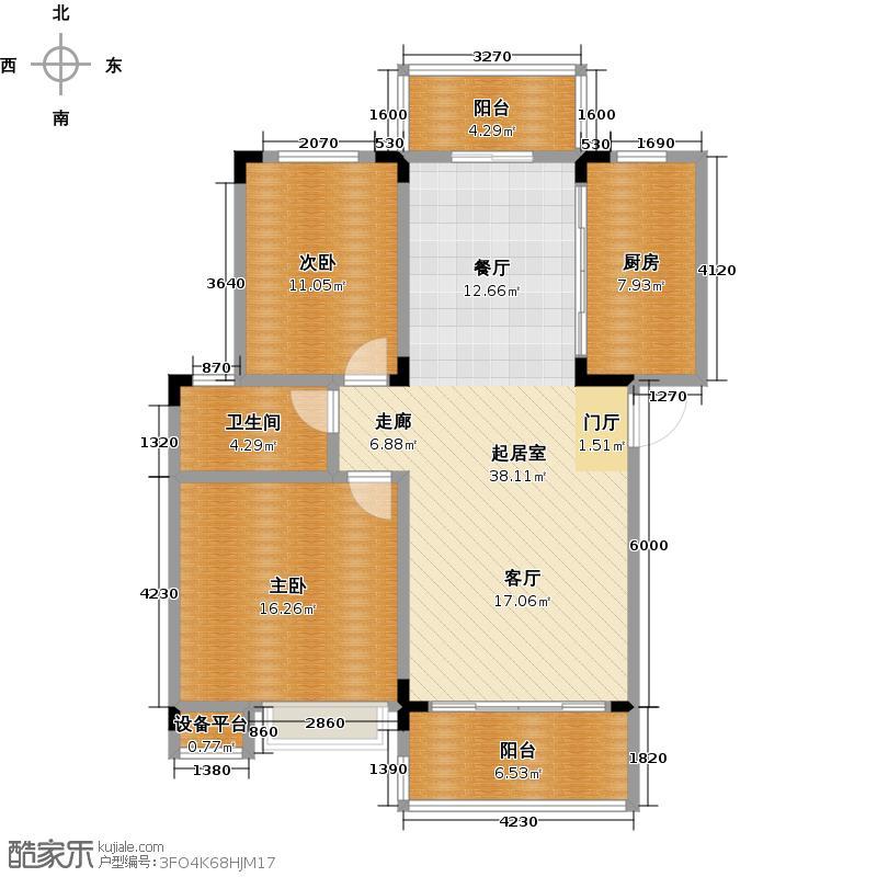 盘龙水岸沁园101.11㎡D1户型2室2厅1卫