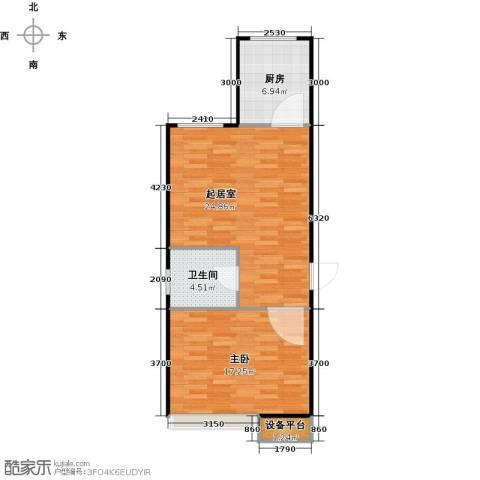 北环盛世1室0厅1卫1厨54.81㎡户型图