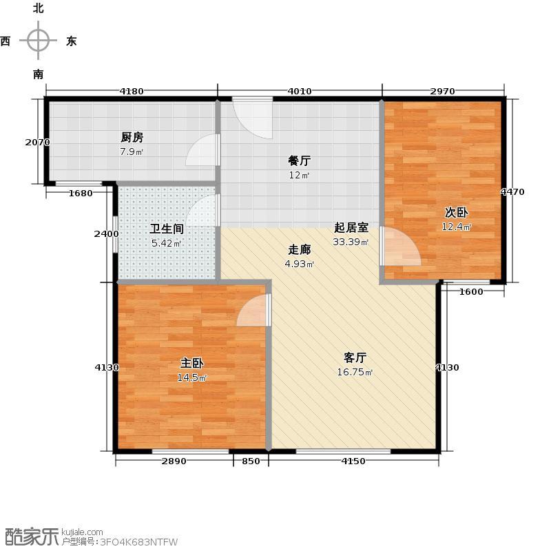 北环盛世78.45㎡1#楼1单元中户户型2室2厅1卫