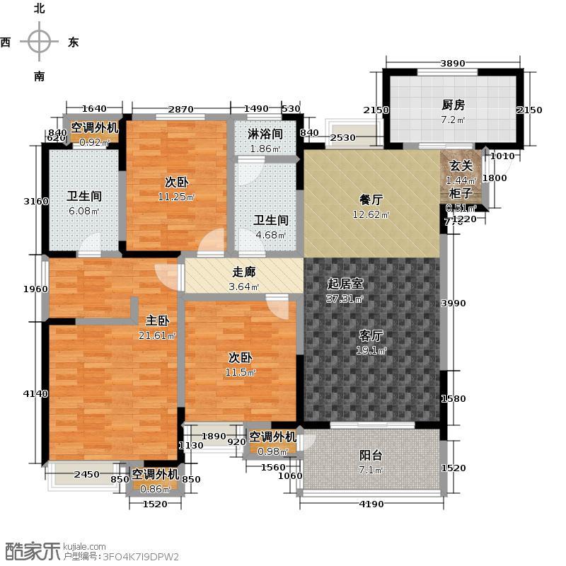 九龙仓玺园户型3室2卫1厨
