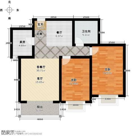 奇源尚层2室1厅1卫1厨98.00㎡户型图