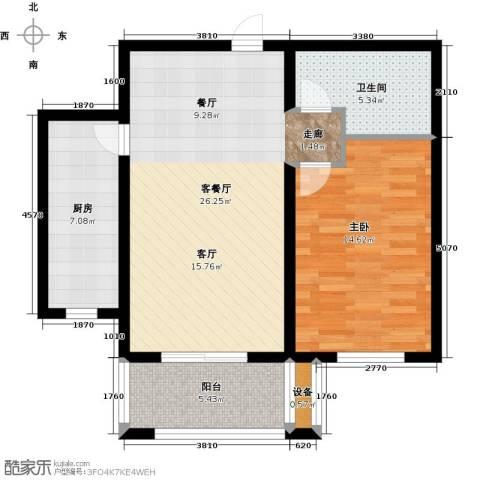 怀特翰墨儒林1室1厅1卫1厨69.00㎡户型图