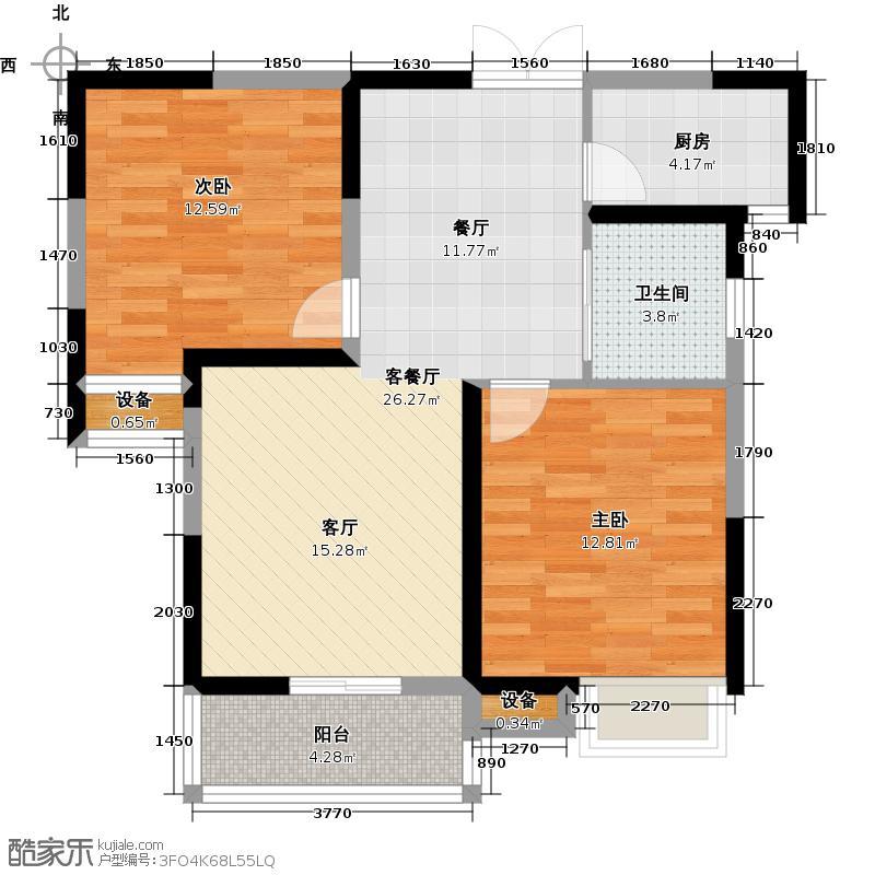 福星惠誉水岸国际88.00㎡K6地块8、9号楼C2户型 两房两厅一卫户型2室2厅1卫