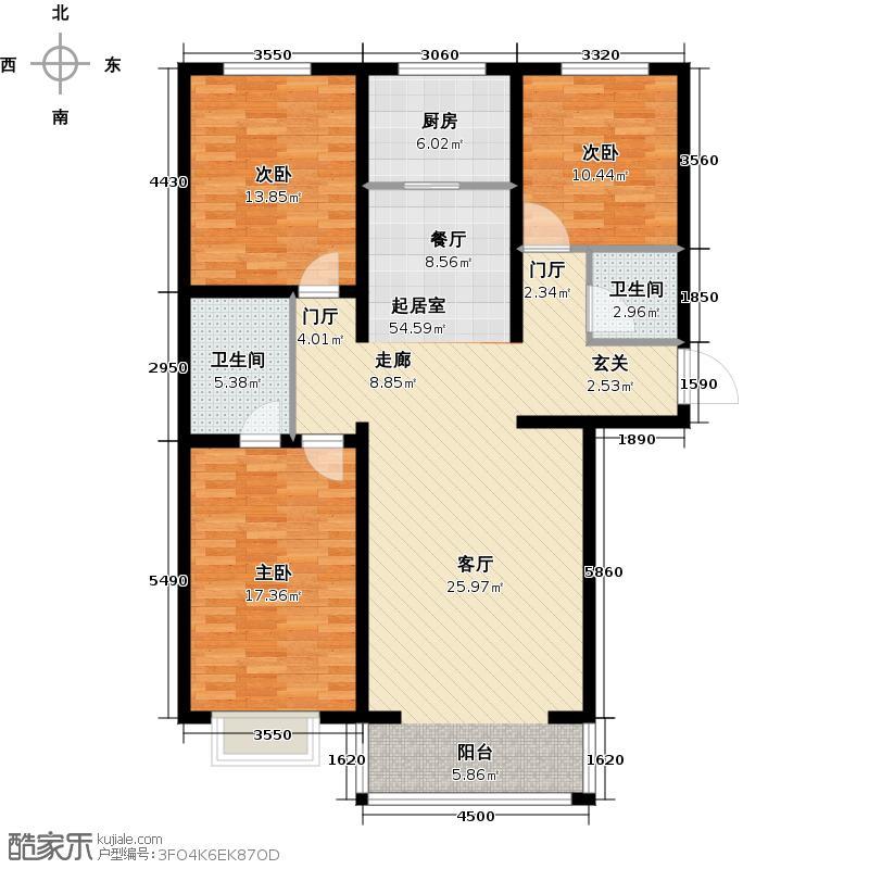 西城阳光124.47㎡M户型2室2厅1卫