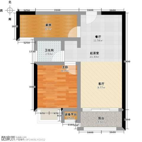 紫薇曲江意境1室0厅1卫1厨64.00㎡户型图