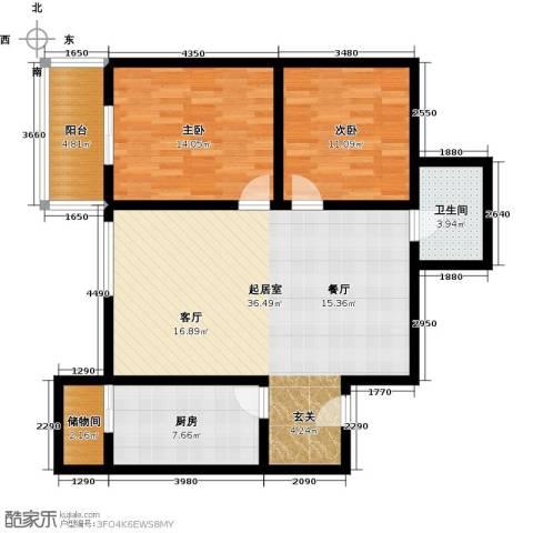 世纪锦绣2室0厅1卫1厨92.00㎡户型图