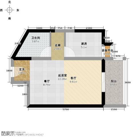 紫薇曲江意境1卫1厨53.00㎡户型图