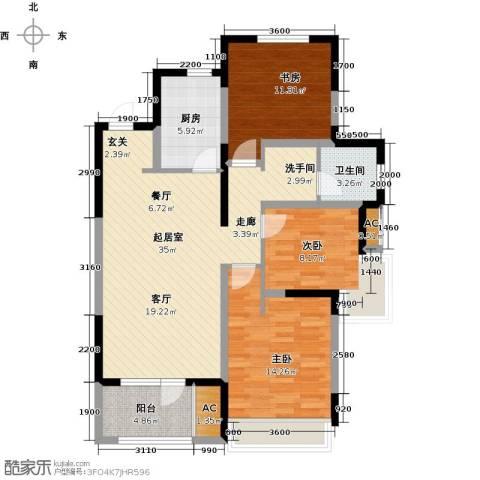 中铁万科香湖盛景3室0厅1卫1厨115.00㎡户型图
