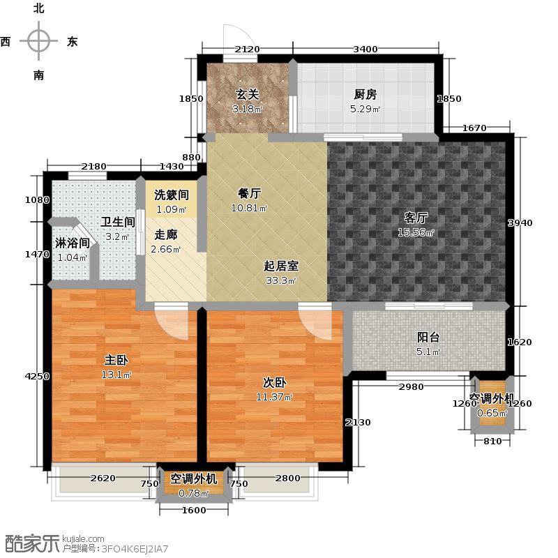 九龙仓玺园88.00㎡高层F户型2室2厅1卫