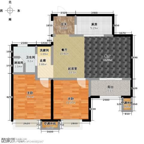 九龙仓玺园2室0厅1卫1厨88.00㎡户型图