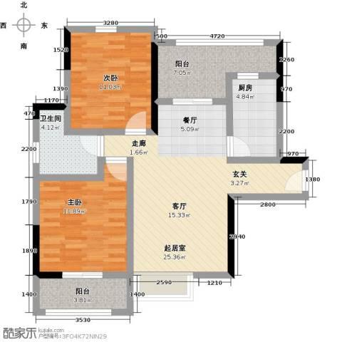 观澜御苑2室0厅1卫1厨89.00㎡户型图