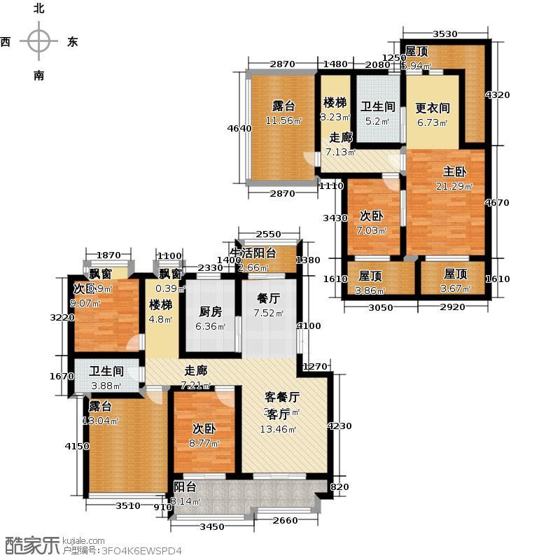 荣华水岸新城186.18㎡4室2厅2卫186.18平米 E 五加一户型4室2厅2卫