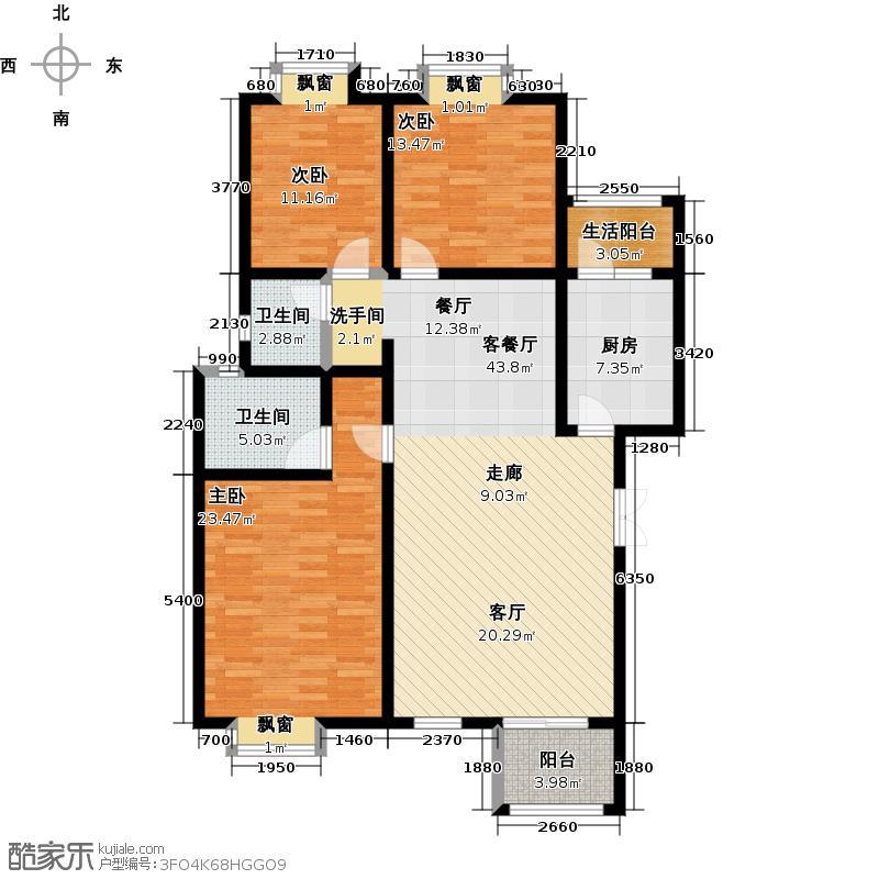 荣华水岸新城129.39㎡D1户型三室两厅两卫户型3室2厅2卫