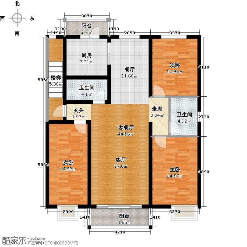 博地花园户型3室1厅2卫1厨