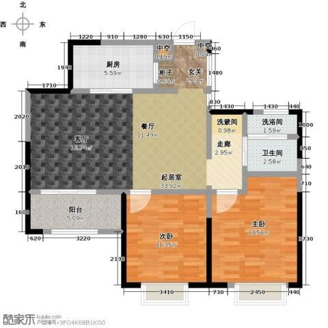 九龙仓玺园2室0厅1卫1厨90.00㎡户型图