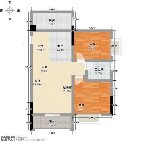 观澜御苑2室0厅1卫1厨81.00㎡户型图