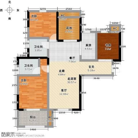 观澜御苑3室0厅2卫1厨110.00㎡户型图