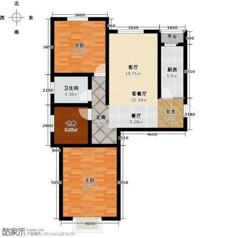 金润华府3室1厅1卫1厨98.00㎡户型图