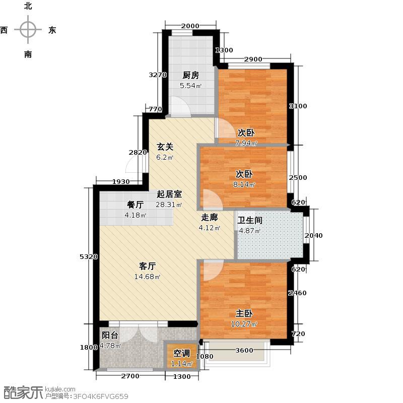 金隅丽港城100.00㎡金隅丽港城户型图B2(3/4张)户型3室1厅1卫