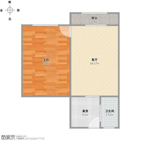 佳虹小区1室1厅1卫1厨56.00㎡户型图