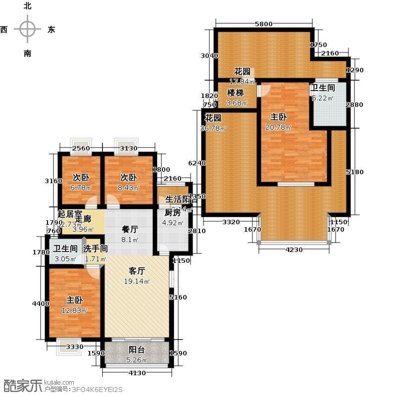荣华水岸新城185.27㎡D5+1户型 四室两厅两卫户型4室2厅2卫