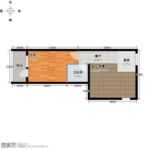 金宇钻石1室1厅1卫0厨48.93㎡户型图