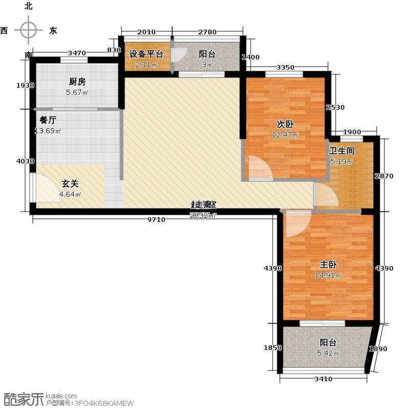 葛洲坝国际广场100.00㎡一期A户型 2室2厅1卫户型