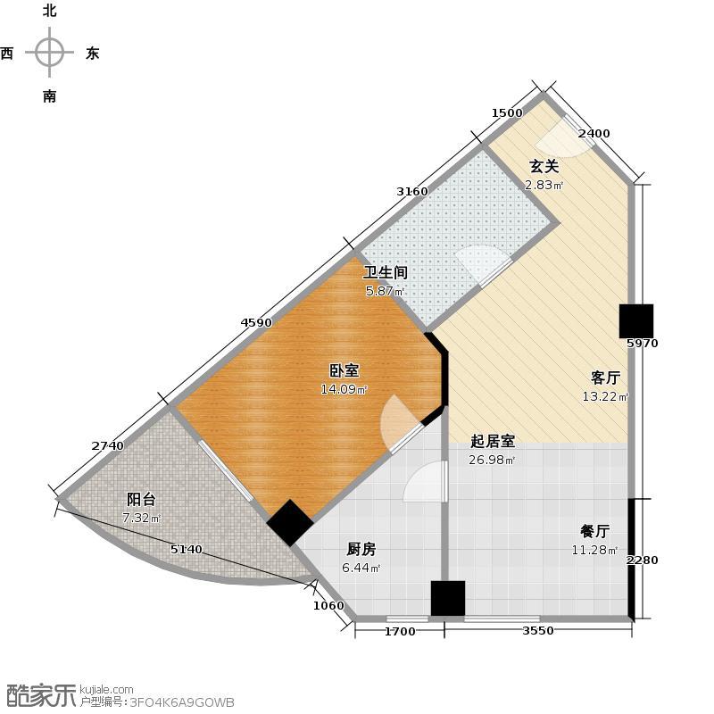 汉飞又一城56.00㎡3A-B户型 1室2厅1卫户型1室2厅1卫