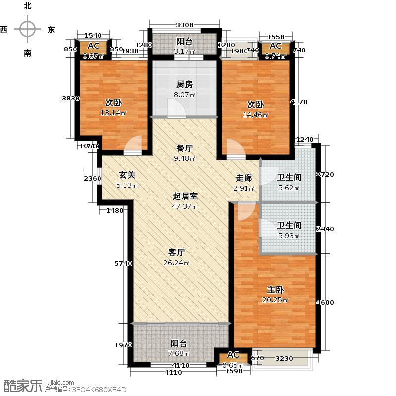 绿地新里卢浮公馆144.00㎡C4三室二厅二卫约QQ
