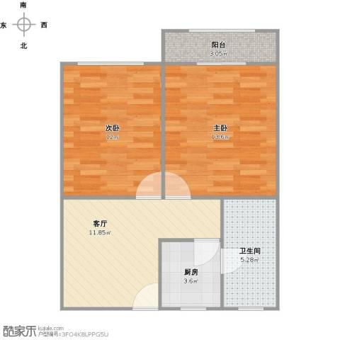 真光八街坊2室1厅1卫1厨66.00㎡户型图