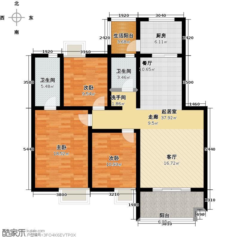 荣华水岸新城120.29㎡H户型 三室两厅两卫户型3室2厅2卫