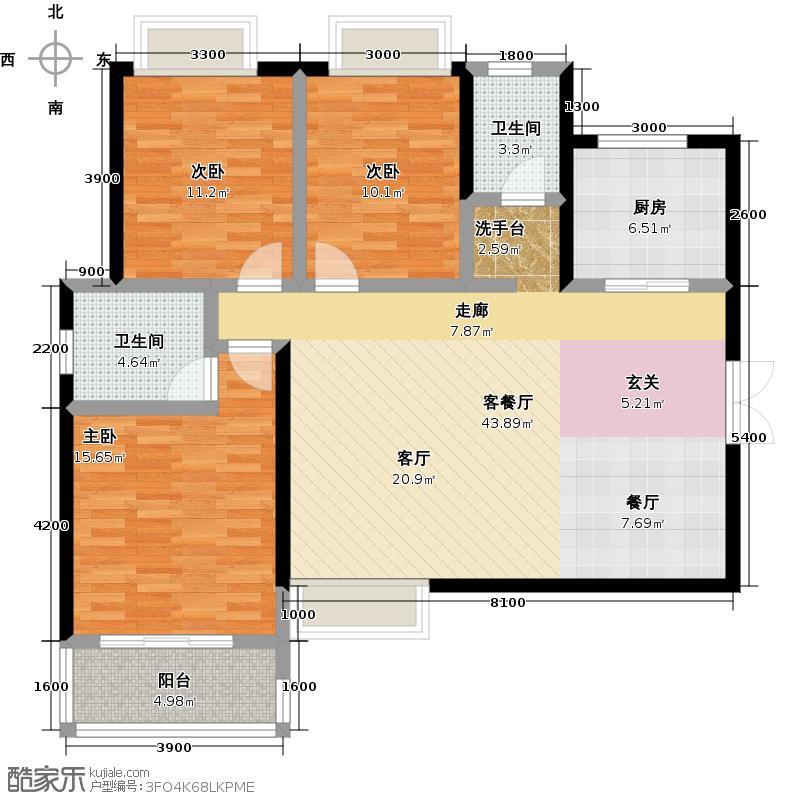 时丰姜溪花都137.93㎡平米A3户型3室2厅2卫