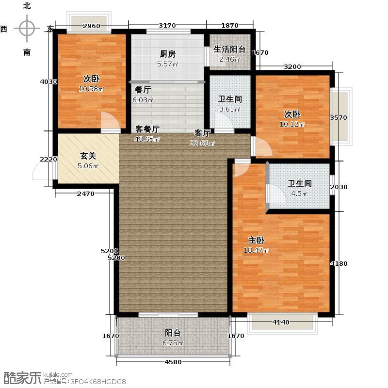 黄金海岸120.00㎡户型B-1户型3室2厅2卫