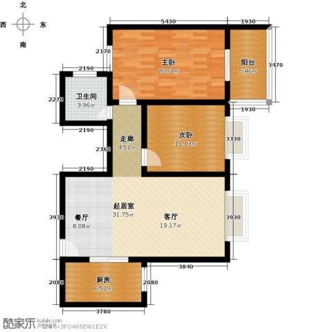 世纪锦绣2室0厅1卫1厨86.00㎡户型图