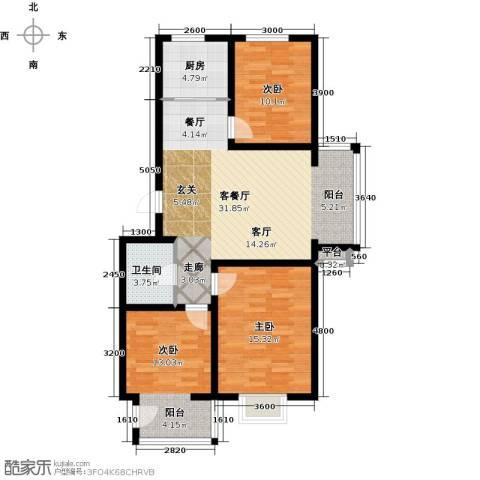 金润华府3室1厅1卫1厨103.00㎡户型图