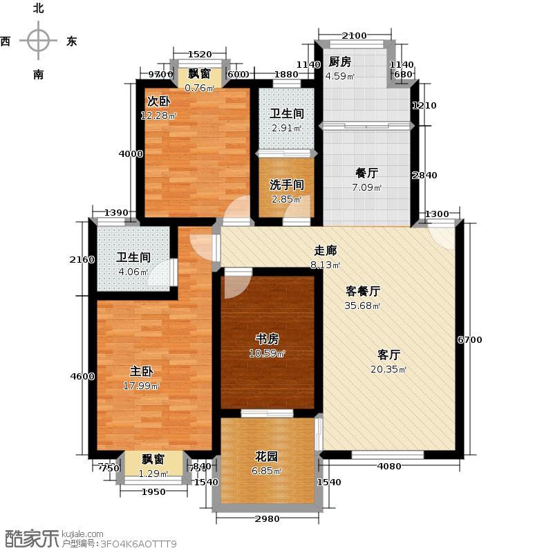 天鹅湖123.94㎡B1户型号3室2厅2卫户型3室2厅2卫